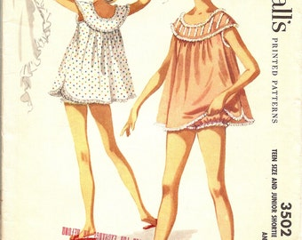 1950s Shortie Nightgown with Bloomers, McCall's 3502 Teen size 11, bust 29, FF Vintage Sewing Pattern