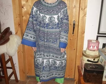 Celtic cotton tunic in purple and blue