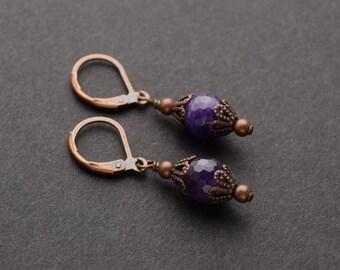 AMETHYST Victorian Earrings, GEMSTONE Victorian Jewelry Antiqued Copper Earrings Amethyst Jewelry Steampunk Jewelry by VictorianCuriosities