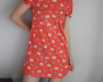 70s Vintage Elephant & Turtle Print Tunic Mini Dress