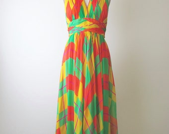 1970s Mollie Parnis Plaid Chiffon Halter Maxi Dress