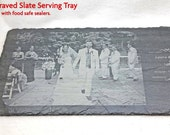 Engraved Photo Slate Tray, Personalized Slate Cheese Board, Wedding Photo, Personalized Wedding Board, Serving Tray, Anniversary Gift