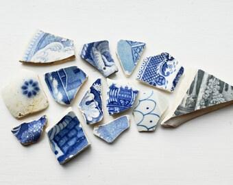 London Thames Sea Pottery, Ceramic Shards, Porcelain, Broken China, Set of 13