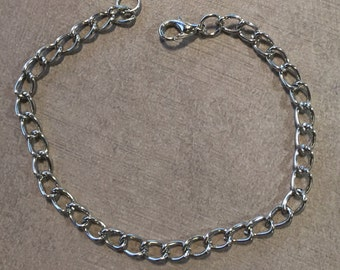Charm link antique silver bracelet
