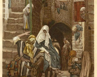 Saint Joseph & the Virgin Mary Seek Lodging in Bethlehem by J. James Tissot, Antique Religious 9x12 Art Print c1897, FREE SHIPPING