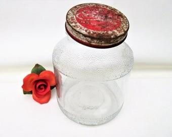 Vintage Glass Jar with Metal Lid | Store Display | Candy Jar | Elmers