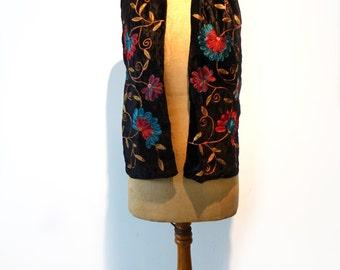Vintage chain stitch embroidered black velvet boho scarf, embellished black crushed velvet scarf