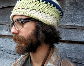Slouchy Wool Tam Hat for adult in green, blue, and white / Dreadlock Hippie Tam Hat / Crochet Tam Hat