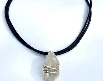 Beautiful large Quartz point,sterling silver,leather cord,crystal Quartz point pendant,Leather choker,Crystal Quartz necklace.
