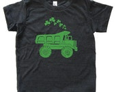 St Patricks Day Dump Truck Shamrock Shirt - Youth Boy TShirt / Super Soft Kids Tee Sizes 2T 4T 6 8 10 12 - Triblend Black or Poly Neon Blue