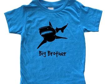 Big Brother Shark Shirt - Kids Shark T Shirt - Blue Green or Yellow - Boy Tshirt T Shirt - Sizes 2, 4, 6, 8, 10, 12 Super Soft Tee