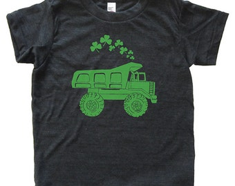 St Patricks Day Dump Truck Shamrock Shirt - Youth Boy TShirt / Super Soft Kids Tee Sizes 2T 4T 6 8 10 12 - Triblend Black or Poly Neon Blue