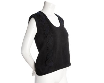 Vintage black knit vest -- cable knit top -- size small / medium