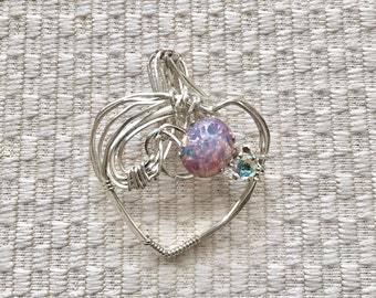 Opal Stone Wire Wrapped Sterling Silver Heart Pendant