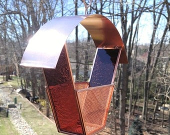 Bird approved! Copper and stained glass bird feeder wine grape glass no rust modern garden art