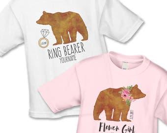 Ring Bearer Gift - Ring Bearer Bear Shirt - Personalized Bridal Party Gifts - Flower Girl Gift - Handcrafted Wedding - Flower Bear Girl Gift