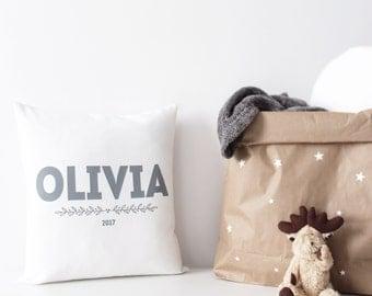 PERSONALISED cushion, customised nursery decor, white & grey baby nursery decor, birth year gift, organic cotton baby cushion, baby gift