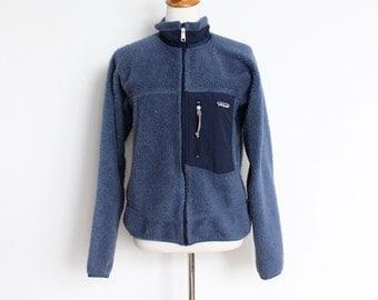 Vintage Patagonia Fleece Jacket // Retro X Deep Pile 1990s Blue Zip Up Coat // Womens Small