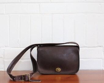 Vintage Coach Purse // NYC Dinky Wide Strap Bag Brown RARE // Penny Handbag New York City Cashin