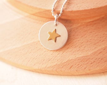 Star Pendant in Silver and Brass - Sterling  Silver Pendant with Golden Star - Silver and Gold Colour Pendant - Silver Brass Necklace