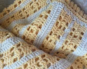 Sunshine and Buttermilk Crochet Lace Afghan, Throw, Yellow and Cream Spring Summer Decor