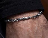 Gifts for Boyfriend, Dagger Pendant Chain Link Bracelet in Sterling Silver