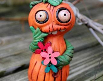 Pumpkin Jack O Lantern Halloween Polymer Clay Sculpture