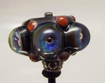 "SRA Lampwork ""BHB Outrageous"" Handmade Lampwork Bead Show Lead Bead Dread Bead Loc Jewelry"