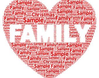 Family Personalised, Gift Word Art Birthday Gift , Christmas Present, Digital Print, Family memory