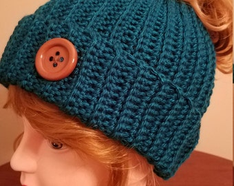 Teal Color Messy Bun Hat. Super soft, for teens or adults - Ready to be Shipped