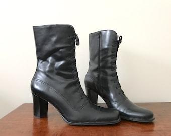 90s Franco Sarto black leather heeled boots US 7 - 7.5 / UK 5.5 / EUR 38