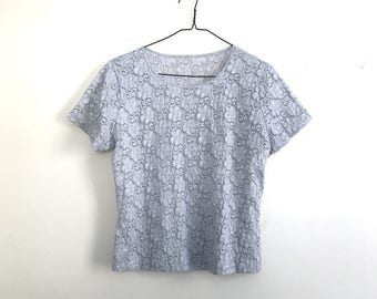 90s silver gray stretchy sheer top