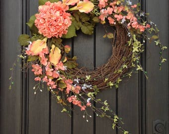 Spring Wreath Summer Wreath Floral White Green Branches Door Wreath Grapevine Wreath Decor-Coral Peach Lilies Wispy Easter-Mothers Day