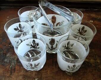 Whiskey Bourbon Glasses Vintage Barware Set 8 Piece, Mid Century Modern Bar, Bourbon Glasses Ice Bucket Set