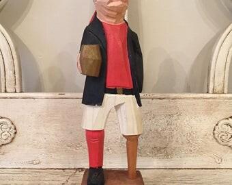 Vintage Wooden Sea Pirate - Kitschy Hand Carved Souvenir - Nautical Decor, Kids Bedroom Decor