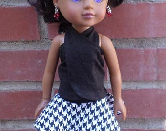 black bandeu top.skirt for 14 inch dolls