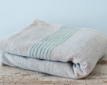 Rare Early Hand Woven Wool Blanket in a Grey Color With Cyan Stripes
