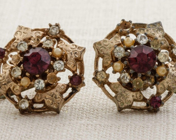 Vintage Rhinestone Earrings Clip On Purple Amethyst Gold Pearl  Floral Clipons | Vtg 7B