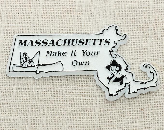 "Vintage Massachusetts Silhouette State Magnet ""Make It Your Own"" Travel Tourism Summer Vacation Memento USA America Fridge Refrigerator 5S"