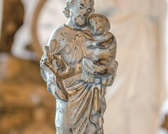 Antique French St Joseph and Christ Child Statue, Spelter Metal, Ornate Base