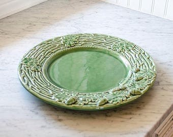 Vintage Majolica Tray, Portugal, Leaves, Acorns, Twigs