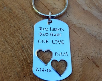 Two Hearts Two Lives One Love Save The Date Keychain or Necklace