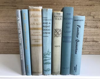 Blue decorative books, Light Blue vintage books,Home Decor,Interior Design,Decor,Library,Book Stack,Staging,wedding decor, photo prop