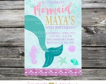 Mermaid Invitation, Mermaid Birthday Invitation, Mermaid Party, Mermaid Baby Shower Invite, Under the Sea, Mermaid Tail Invite, Mermaids
