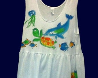 Tropical Fish with Dolphin Dress with Pockets for Women and Plus Sizes