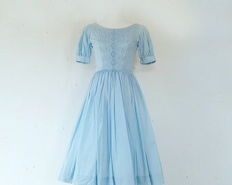 1950s Pastel Blue Fit and Flare Dress Vintage Cotton Full Skirt Gay Gibson Day Dress Small XS Embroidered 50s Summer Garden Party Dress