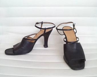 Black Sandals 7 37.5 Vintage Hermes Strappy Sandals Square Toe Chunky High Heels Designer Italy Leather Slides Boho High Heel Shoes France