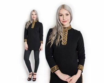 Vintage 60s Tunic - Black Wool Knit Embroidered Gold Cocktail Mod 1960s - Small
