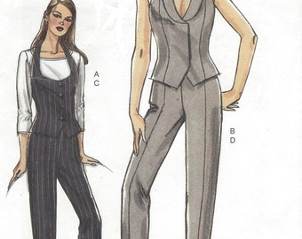 Womens Day or Evening Vest and Tapered Pants OOP Vogue Sewing Pattern V8334 Size 6 8 10 12 Bust 30 1/2 to 34 UnCut Very Easy Vogue Patterns
