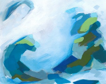 Seaside Breezes fine art print by Cortney North / 12x12 print / blue and green art / abstract painting / turquoise and aqua / sophisticated